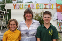 K227 - Acting principal Bruthen Primary School, Michelle Young, & school captains, Jacob Purcell & Hayden Deaves, February 24, 2016